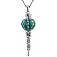 NK551   Green Enamel and Marcasite Pendant on Chain Sterling Silver Ari D Norman